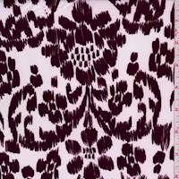 White/Mulberry Ikat Floral Brushed Jersey Knit