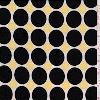 White/Black/Yellow Polka Dot Brushed Jersey Knit
