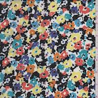 Black/Yellow Multi Floral Crepe De Chine