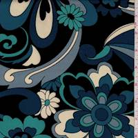 Dark Navy/Teal Stylized Floral Jersey Knit