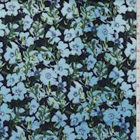 Navy/Turquoise Floral Quilted Knit