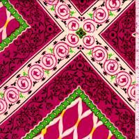 Deep Pink Ogee Jersey Knit