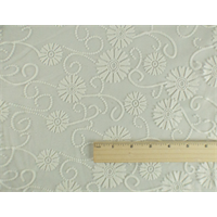 *1 YD PC--Cream White Floral Sheer Jersey Burnout