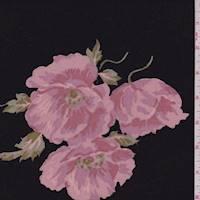 *2 1/2 YD PC--Black/Blush Floral Rayon Crepe