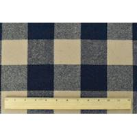 *1 7/8 YD PC--Midnight Navy/Beige Double Weave Plaid Flannel Jacketing