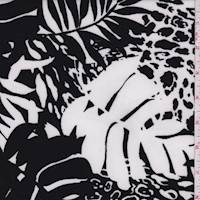 White/Black Jungle Print Scuba Knit