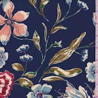 Deep Blue Floral Crepe