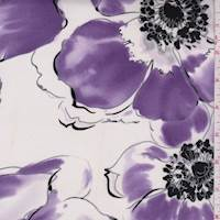 White/Purple Large Floral Jersey Knit