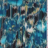 Aqua/Black/Beige Streak Jersey Knit
