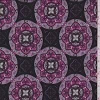 Black/Fuchsia Circular Medallion Jersey Knit