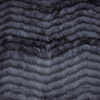 *1 5/8 YD PC--Hematite Black Wave Stripe Faux Fur Knit