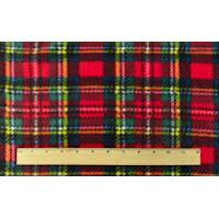 *3 YD PC--Scarlet Red/Green Multi Plaid Printed Fleece