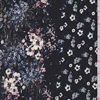 *3 1/8 YD PC--Black Multi Floral Stripe Crepe De Chine