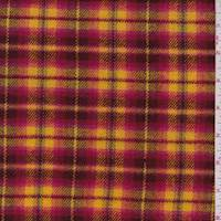 *1 5/8 YD PC--Golden Yellow/Berry Plaid Flannel Jacketing