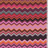 Hot Pink/Mango/Black Zig Zag Crepe de Chine