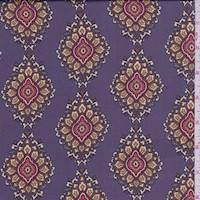 *3 5/8 YD PC--Plum/Gold Medallion Polyester Charmeuse
