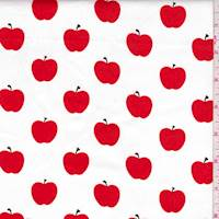 White/Red Apple Stretch Sateen