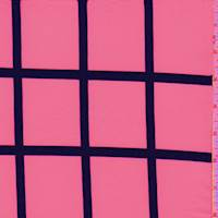 Neon Pink/Black Windowpane Polyester