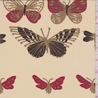 *1 3/4 YD PC--Apricot Cream Butterfly Silk Georgette