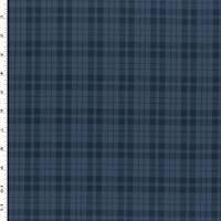 *2 5/8 YD PC--Storm Blue/Black Wool Blend Plaid Jacketing