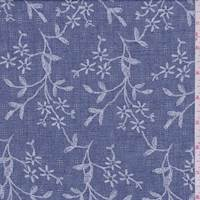 *1 7/8 YD PC--Coventry Blue Floral Leno