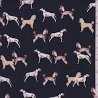 *3 1/8 YD PC--Black Canine Print Rayon Challis