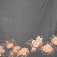 *1 PANEL--Black/Tangerine Large Floral Silk Chiffon