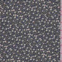 Navy Mini Floral Crepe Chiffon