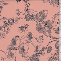 Peach/Navy Sketch Floral Georgette