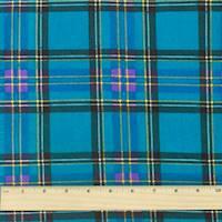 *4 YD PC--Deep Teal/Purple/Multi Plaid Print Cotton Shirting