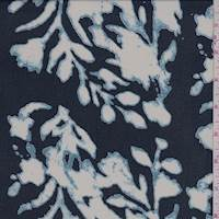 Deep Blue Abstract Floral Rayon Chiffon