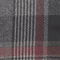 *2 1/2 YD PC--Grey/Black/Red Plaid Wool Suiting