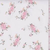White/Coral Pink Floral Chiffon