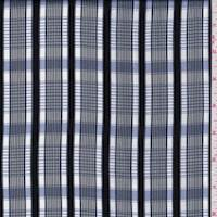 White/Navy/Blue Plaid Polyester Charmeuse