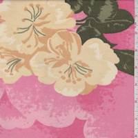 *1 5/8 YD PC--Deep Pink Hibiscus Rayon Crepe