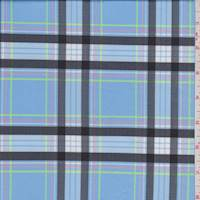 *2 5/8 YD PC--Soft Blue Plaid Activewear Knit