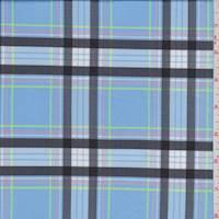 *1 1/2 YD PC--Soft Blue Plaid Activewear Knit