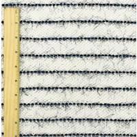 *3 1/2 YD PC--White/Navy French Terry Eyelash Stripe Knit