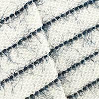 *5/8 YD PC--White/Navy French Terry Eyelash Stripe Knit