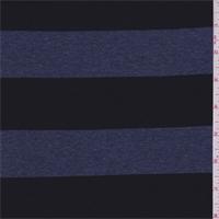 *3 1/4 YD PC--Black/Denim Blue Stripe Rayon Jersey Knit
