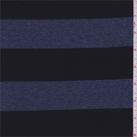 *2 YD PC--Black/Denim Blue Stripe Rayon Jersey Knit