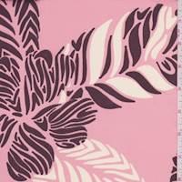 *3 YD PC--Melon Pink/Carob Tropical Floral Charmeuse