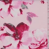 *3 YD PC--Pale Pink Floral Scuba Knit