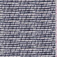 *2 YD PC--Pale Grey/Navy Marble Stripe ITY Jersey Knit
