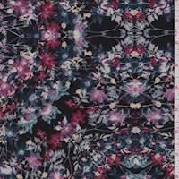 *4 3/8 YD PC--Black/Orchid Multi Floral Block Double Knit