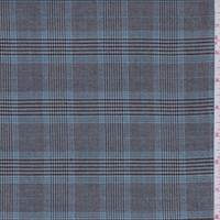 *1 1/2 YD PC--Grey/Aqua Plaid Suiting
