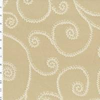 *1 1/8 YD PC--Tanned Beige/Ivory Zig Zag Swirl Vine Jacquard Decor Fabric
