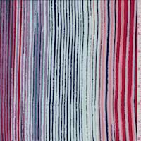 *2 1/2 YD PC--Berry/Mint Multi Stripe Rayon Gauze