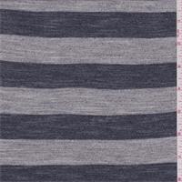 *4 3/8 YD PC--Heather Grey/Navy Stripe T-Shirt Knit