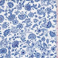 White/Coventry Blue Floral Cotton Challis